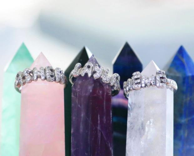 Platinum Diamond Encrusted Name Rings - Hand carved