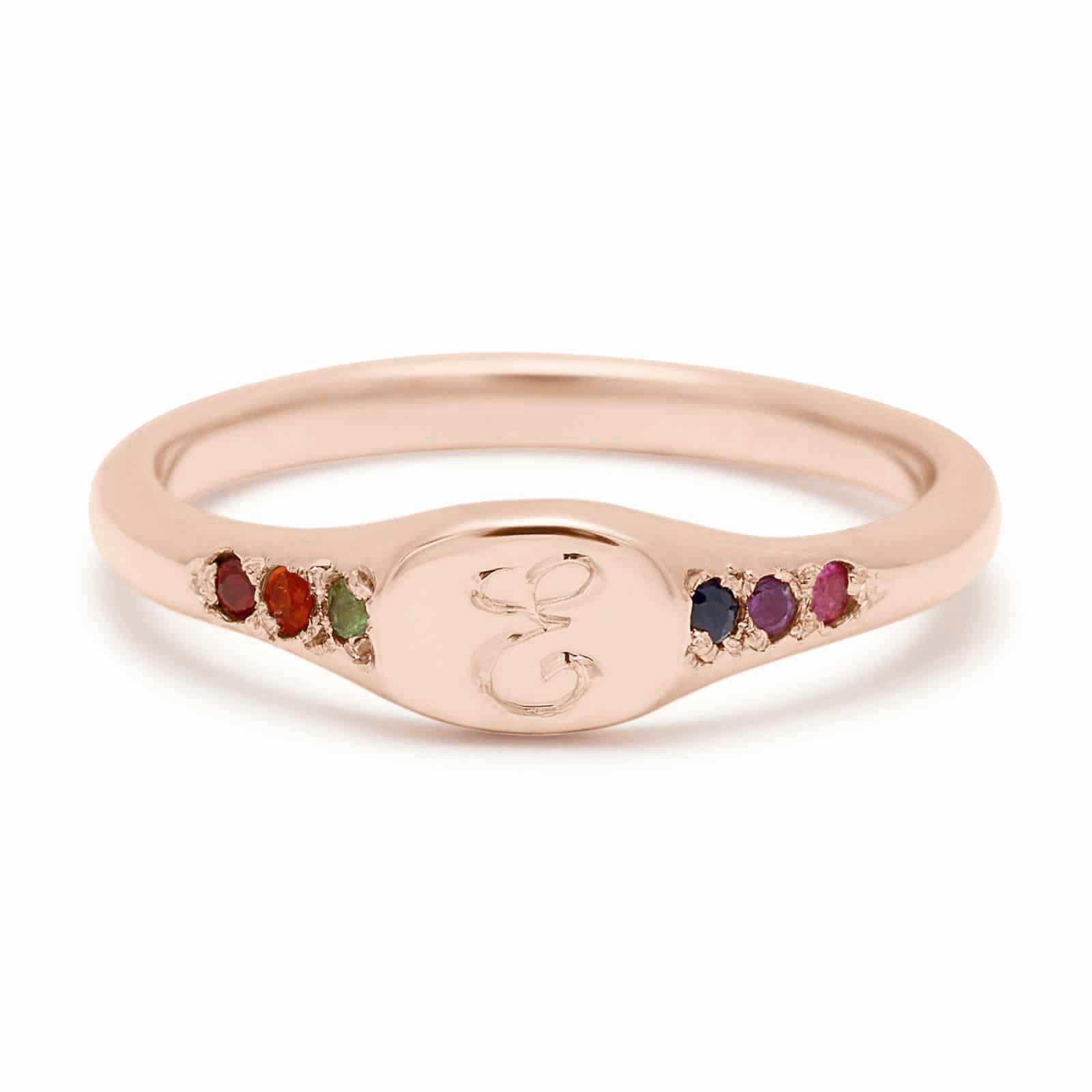 pink gold rainbow mini signet ring