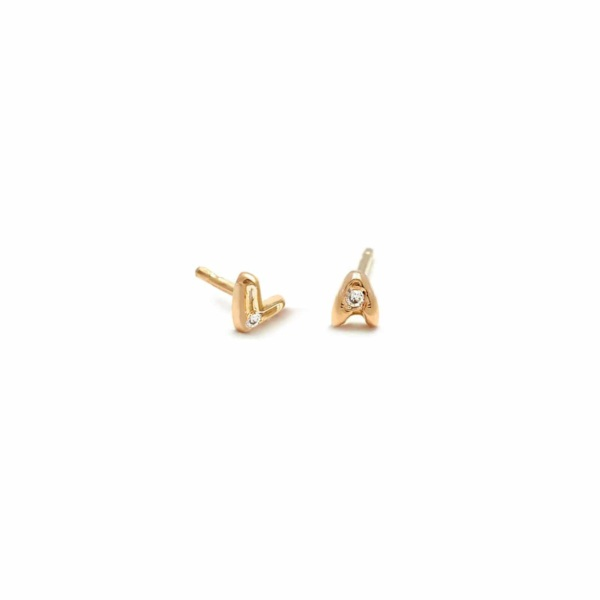 Tiny Letter Stud Diamond Earrings in 14k Yellow Gold