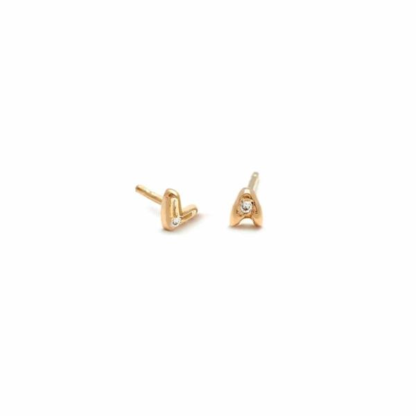 Tiny Letter Stud Diamond Earrings in 14k Yellow Gold