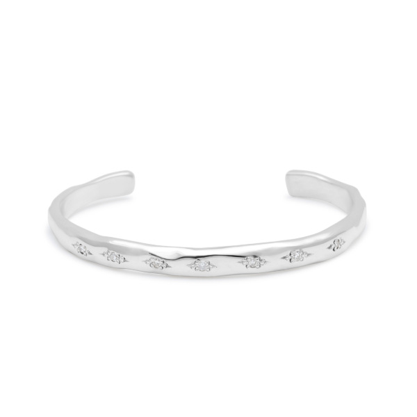 cuff bracelet sterling silver white diamonds