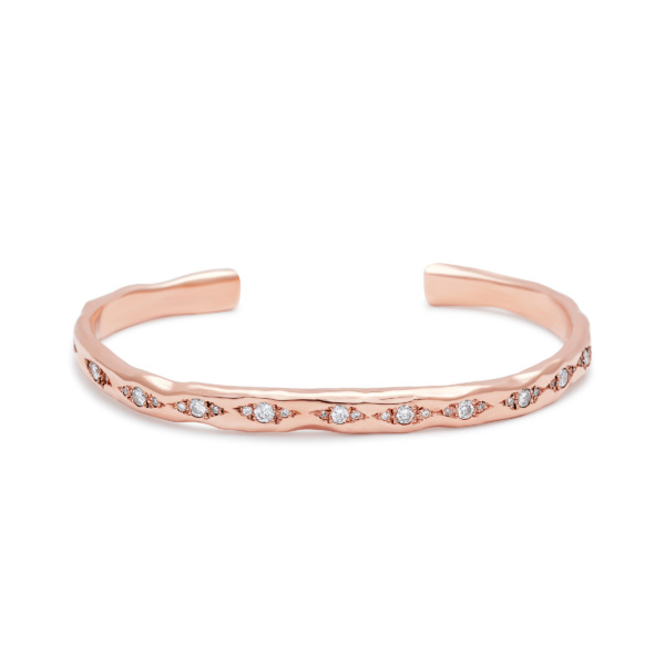 cuff bracelet pink gold white diamonds