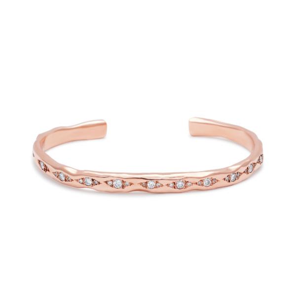 cuff bracelet pink gold white diamonds