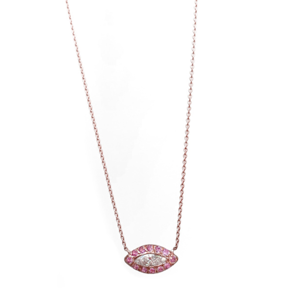 Diamond Pink Sapphire Marquis Eye Necklace in 14k Pink Gold
