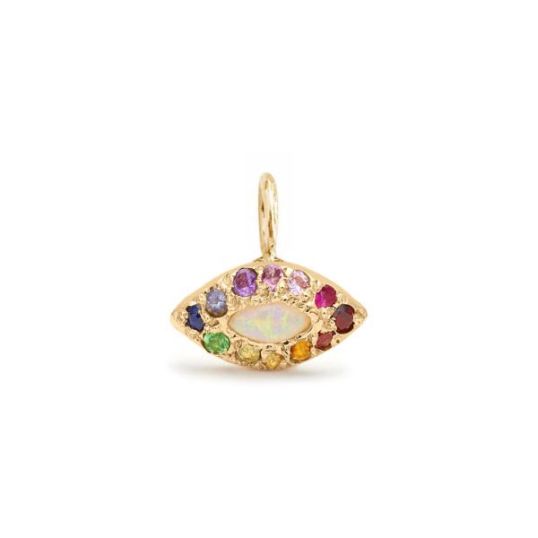 custom eye charm personalized pendant yellow gold