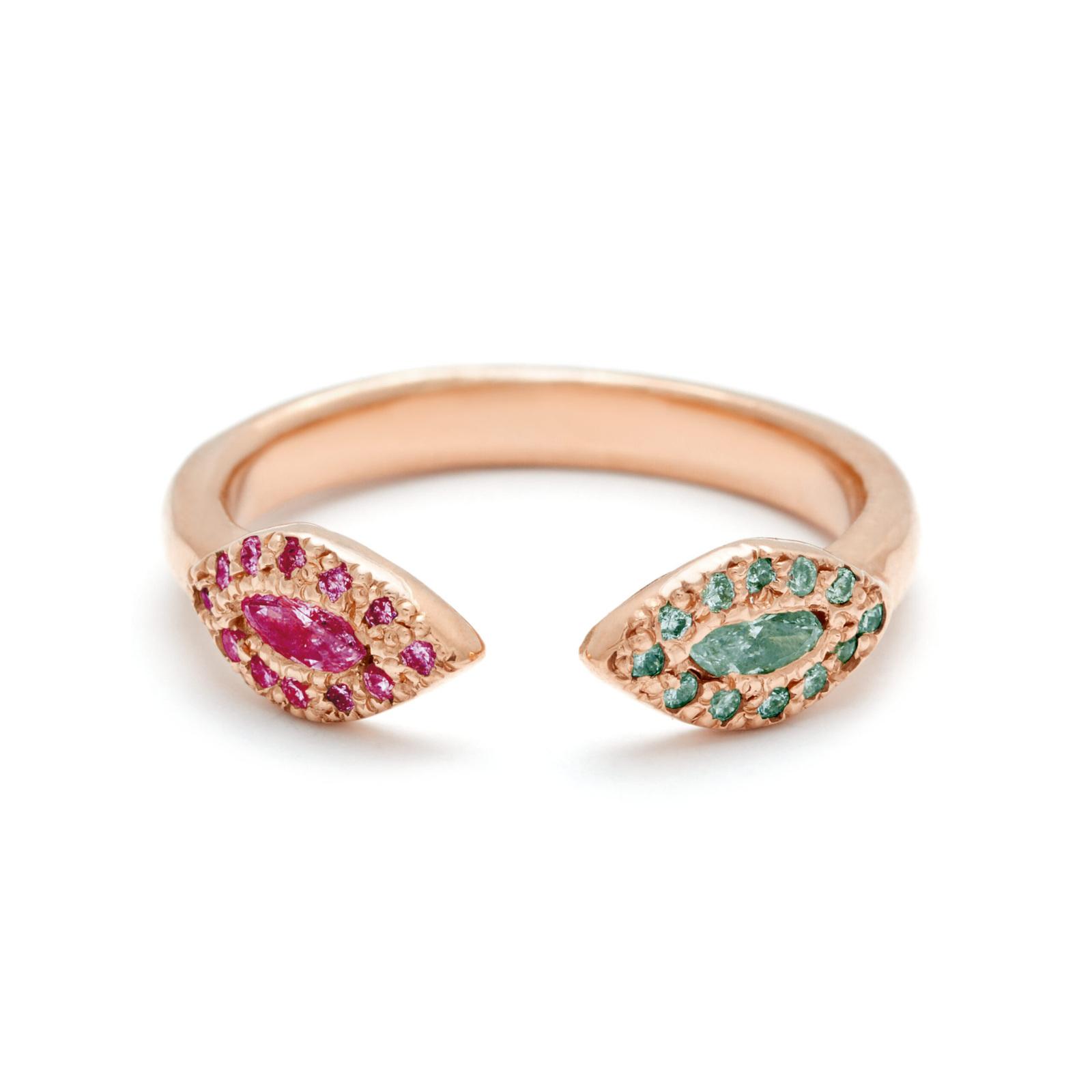 pink gold alexandrite ruby eye cuff rings