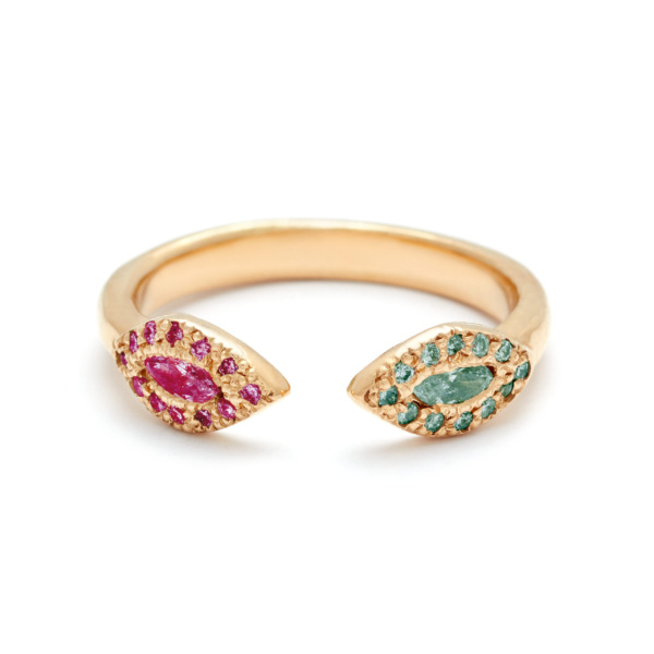 yellow gold alexandrite ruby eye cuff rings