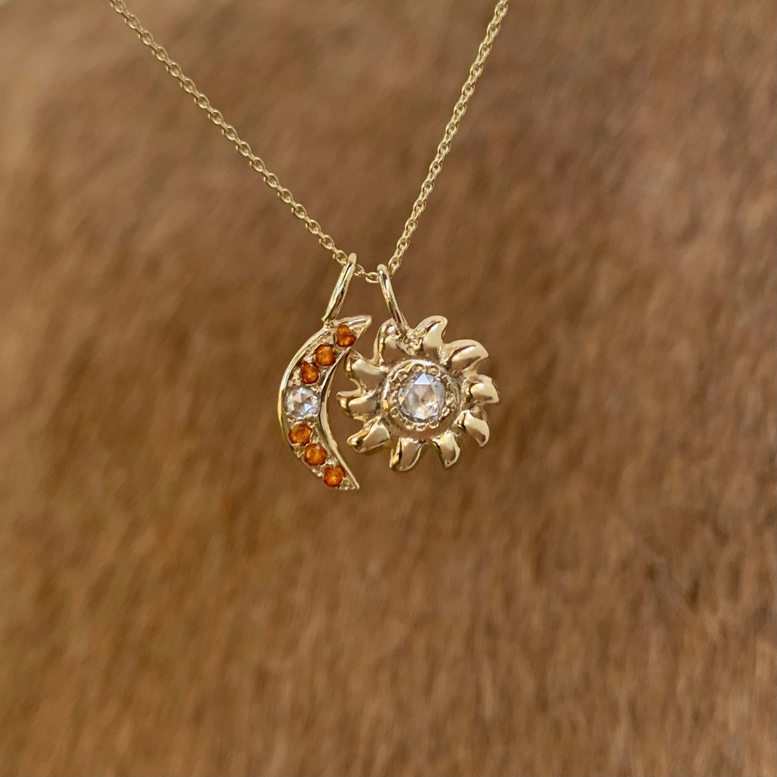 sun charm moon charm necklace jewelry 14k yellow gold