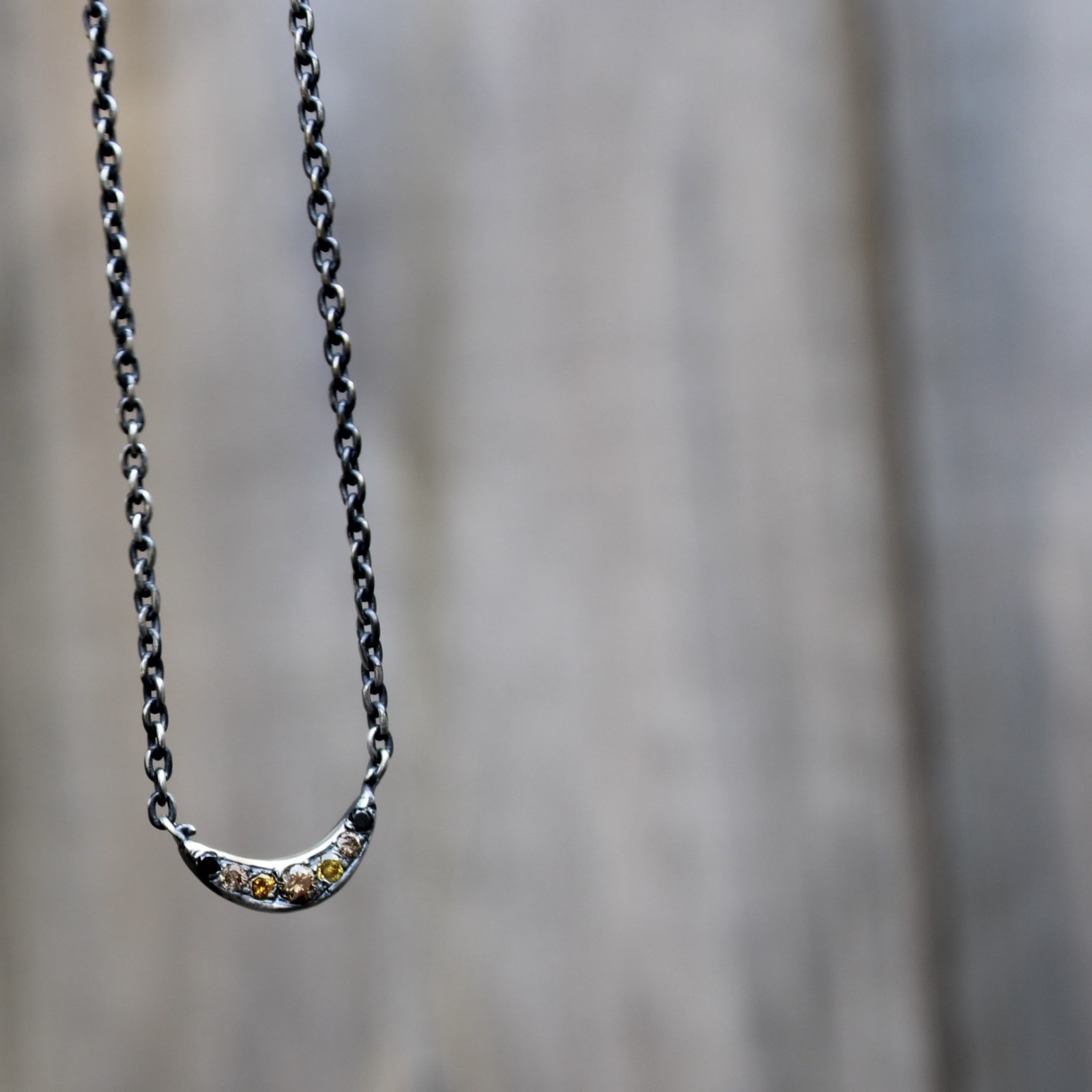 Rustic Silver Mini Moon Necklace