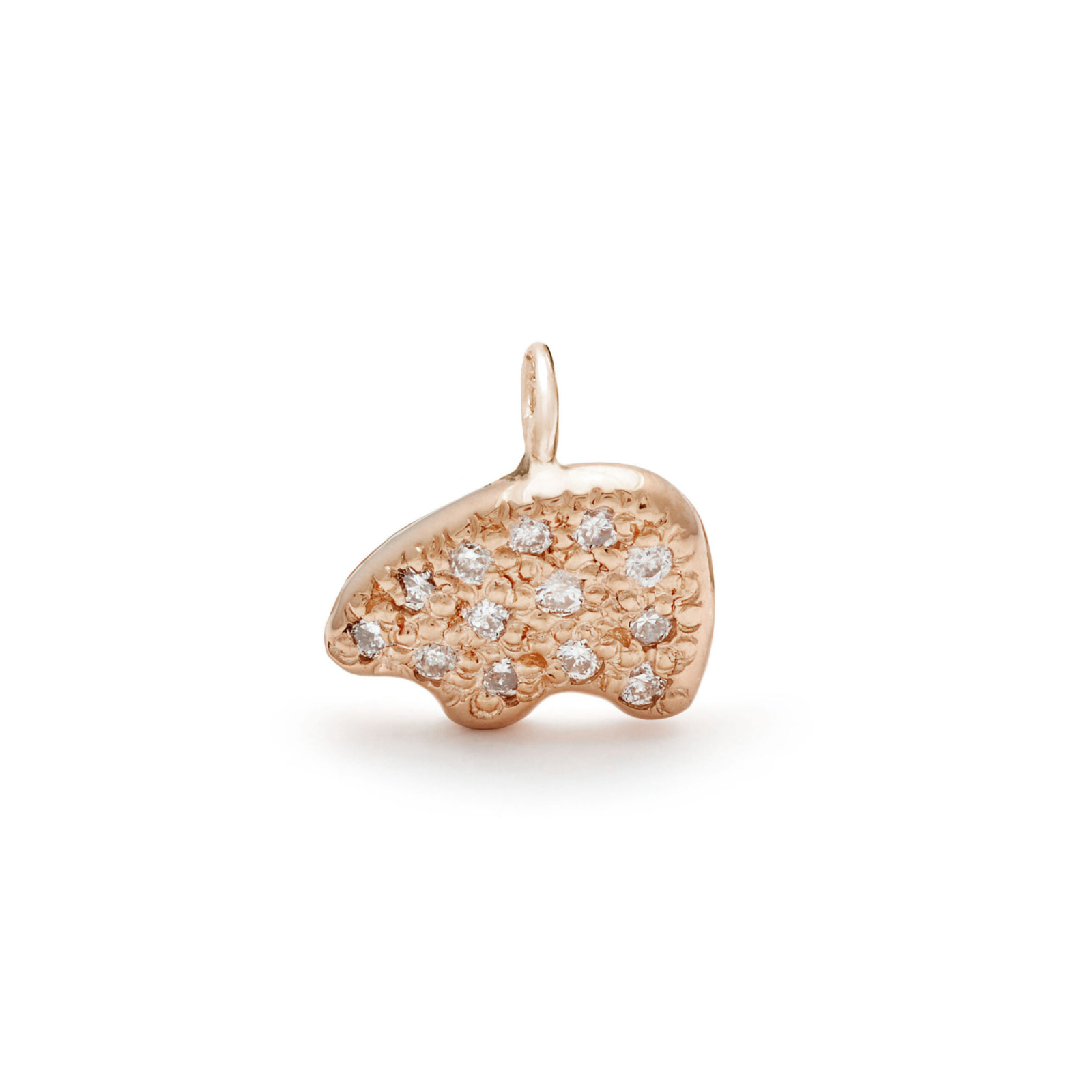 bear charm jewelry with diamond melee - pink gold