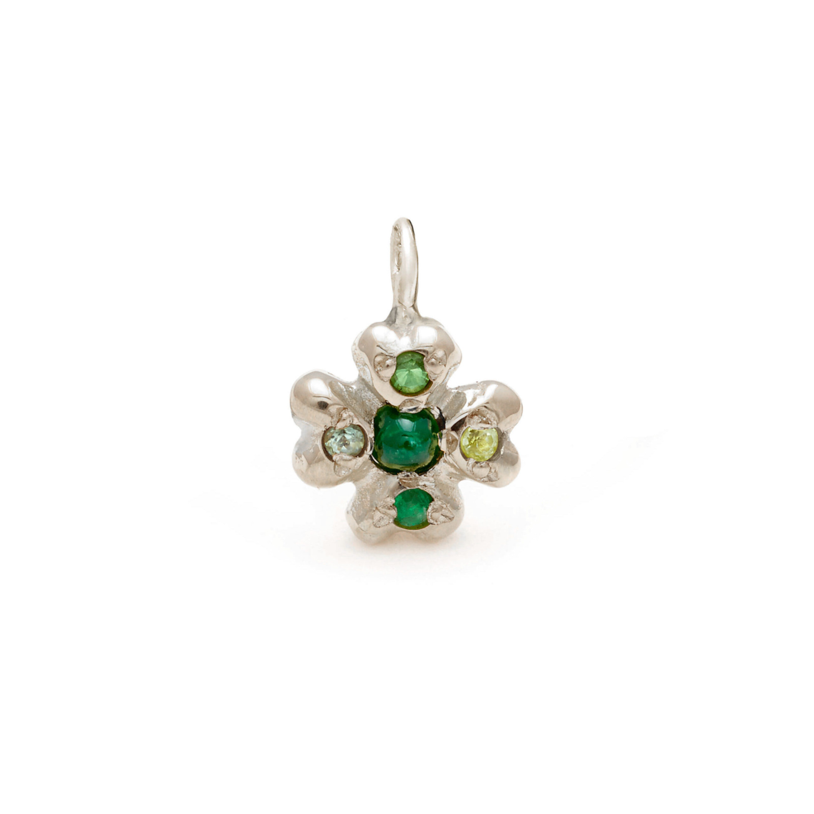clover lucky charm jewelry - white gold