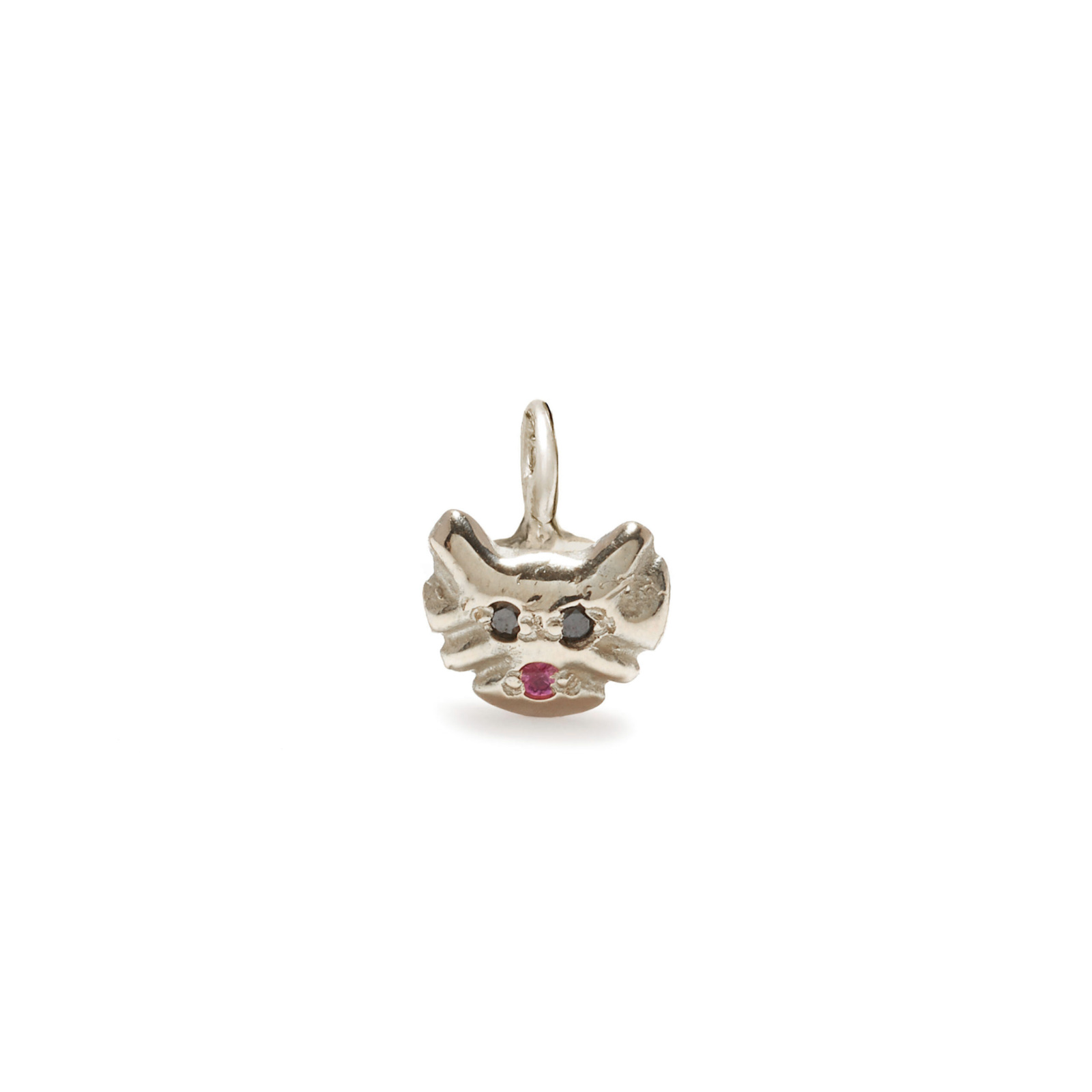 kitty cat charm jewelry - white gold
