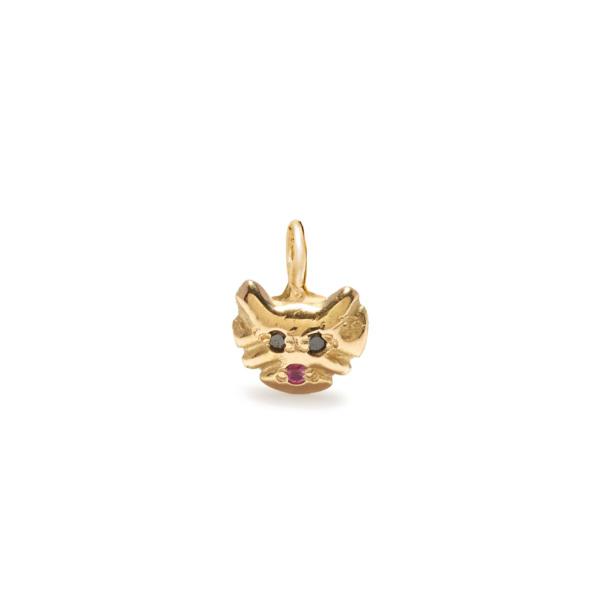 kitty cat charm jewelry - yellow gold