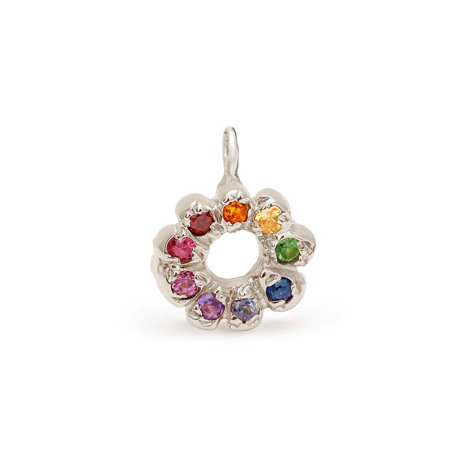 rainbow flower charm jewelry - white gold