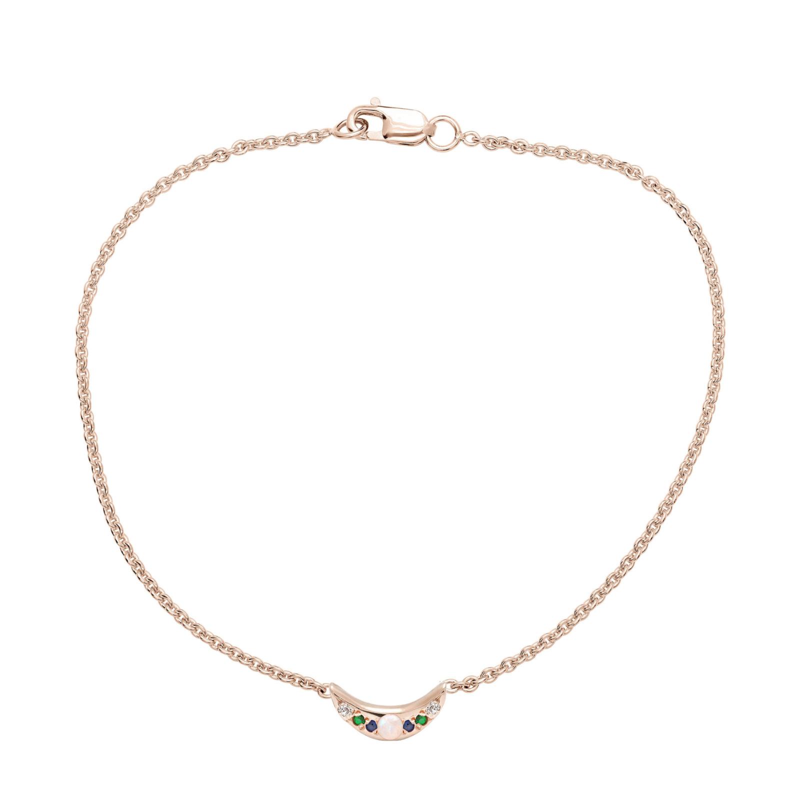 Custom Mini Moon Bracelet - Pink Gold
