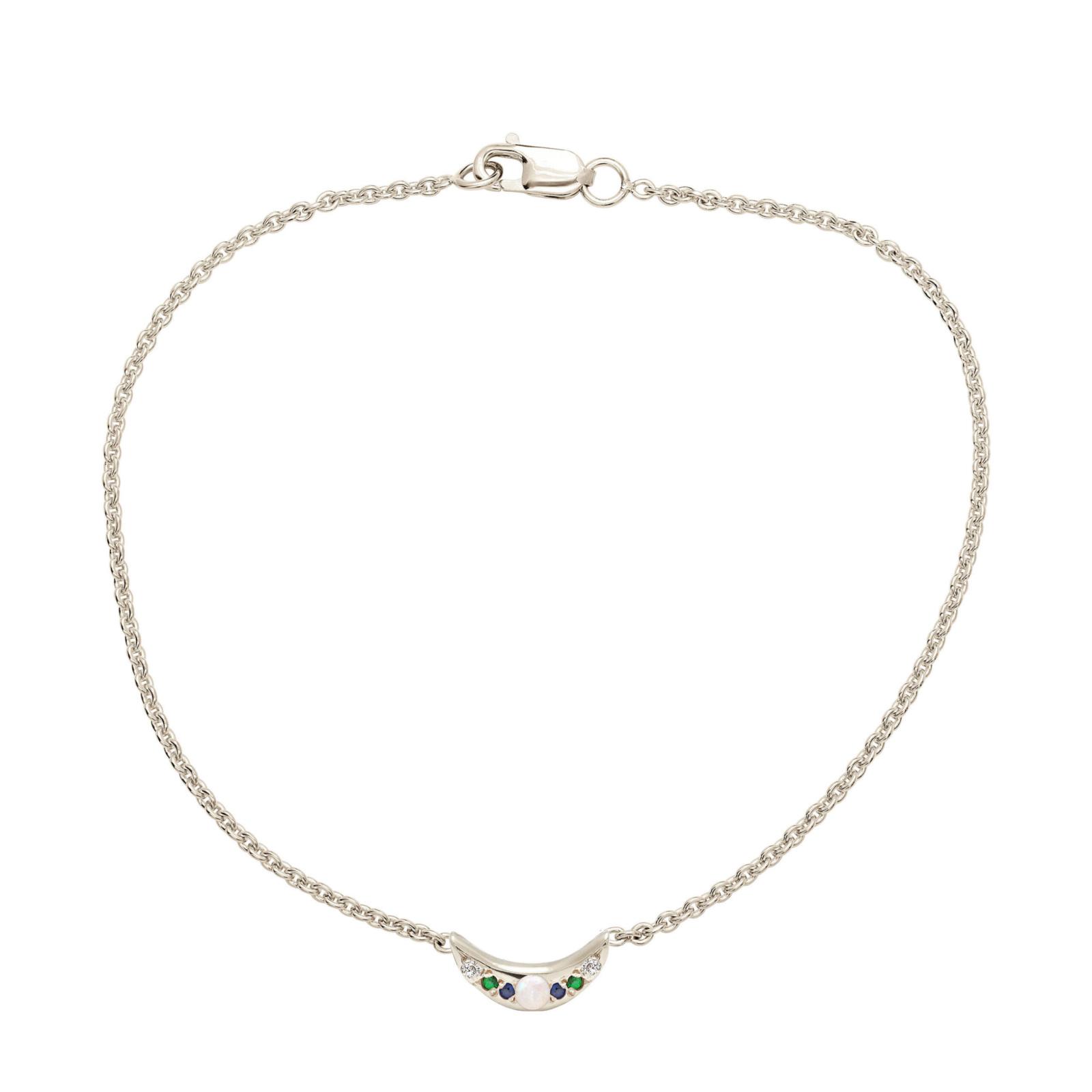 Custom Mini Moon Bracelet - White Gold