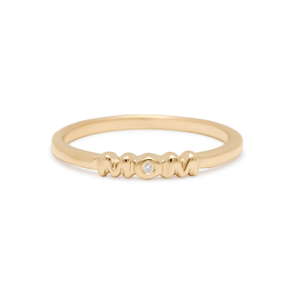 Mom Ring Band with Diamond in Yellow Gold