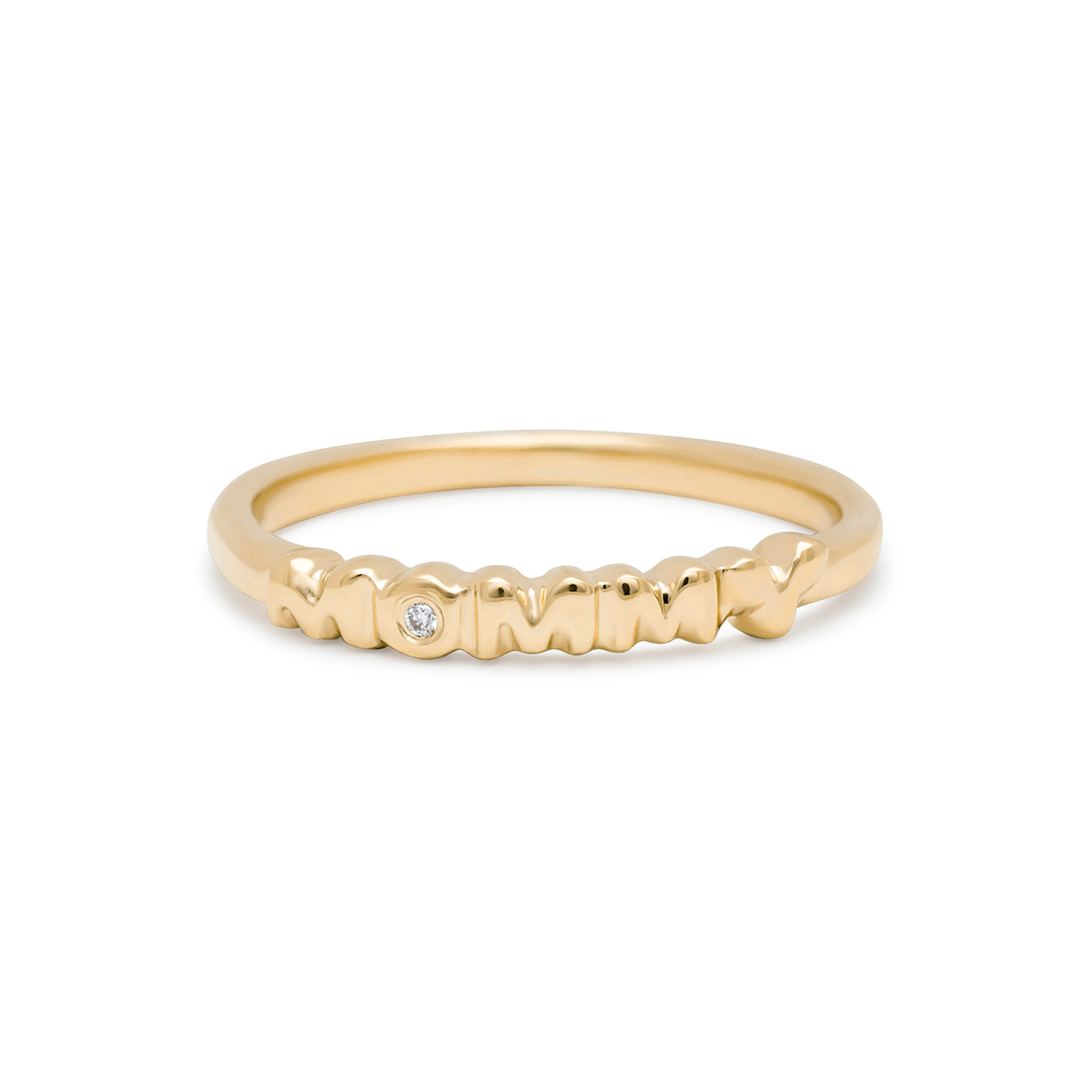 Mommy Band Ring with Diamond in Yellow Gold