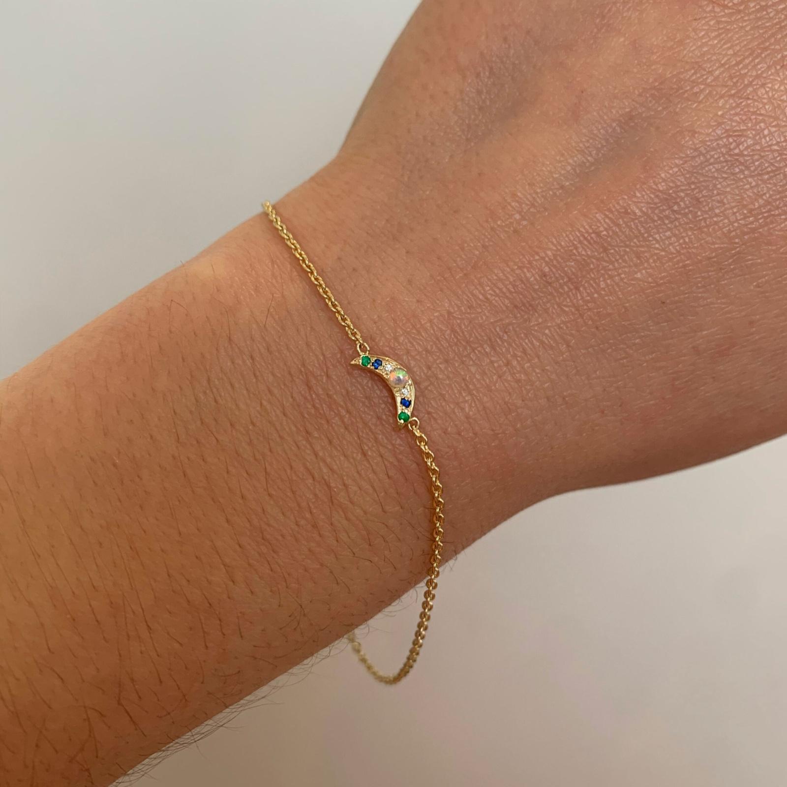 wearing the custom mini moon bracelet
