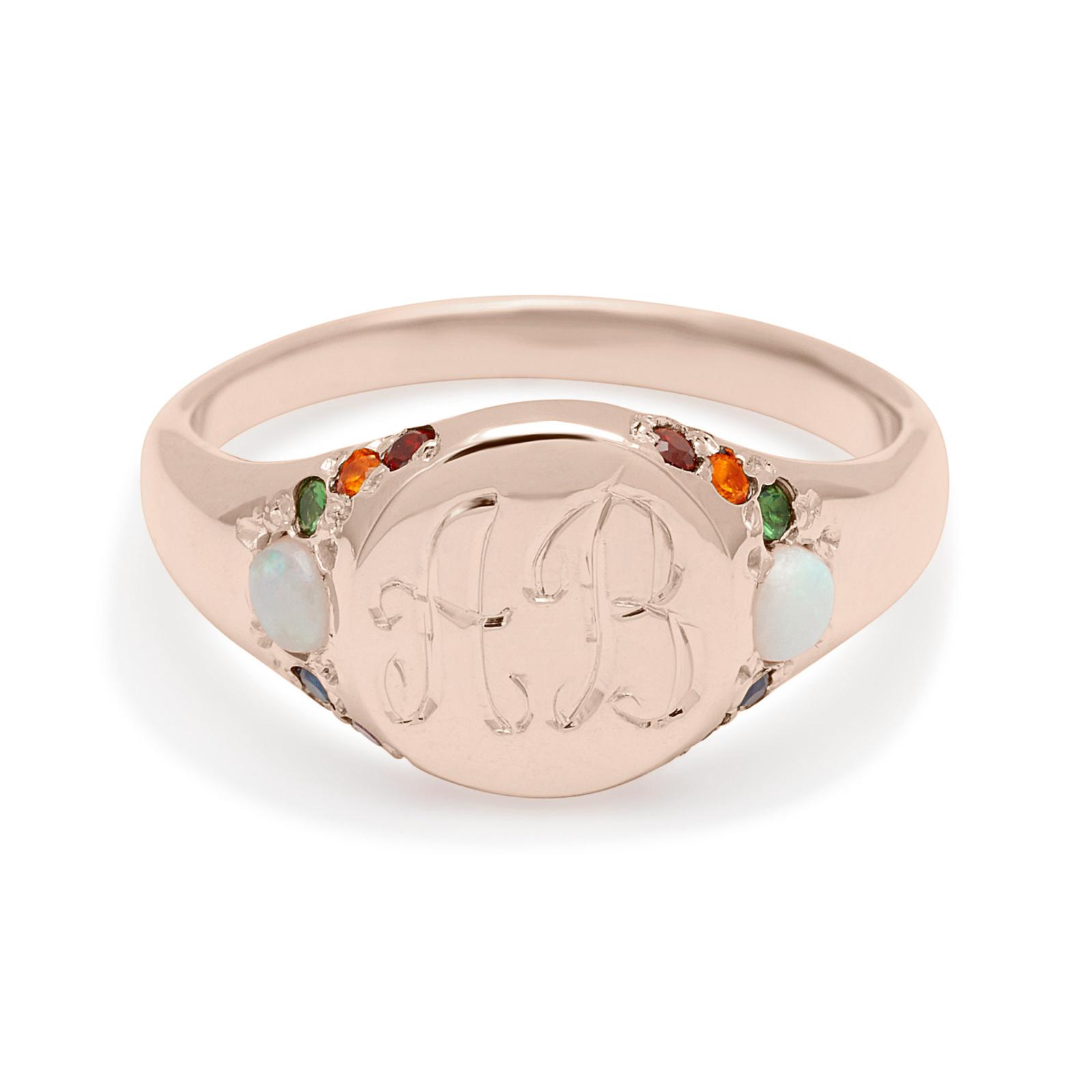 large signet ring custom pink gold