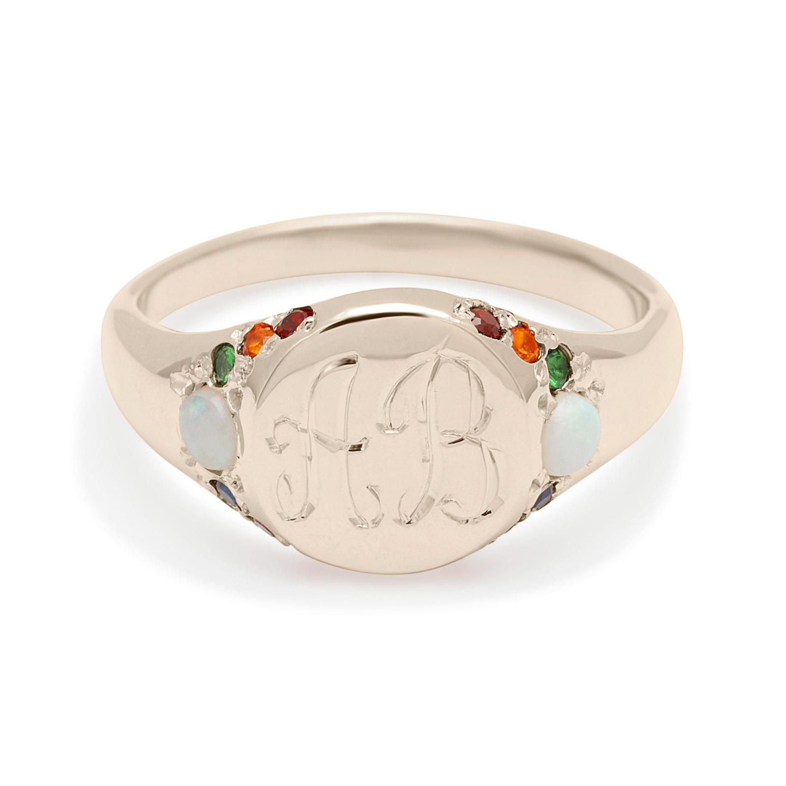 large signet ring custom white gold