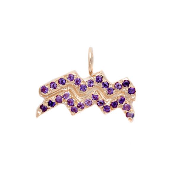 Aquarius charm necklace zodiac jewelry yellow gold