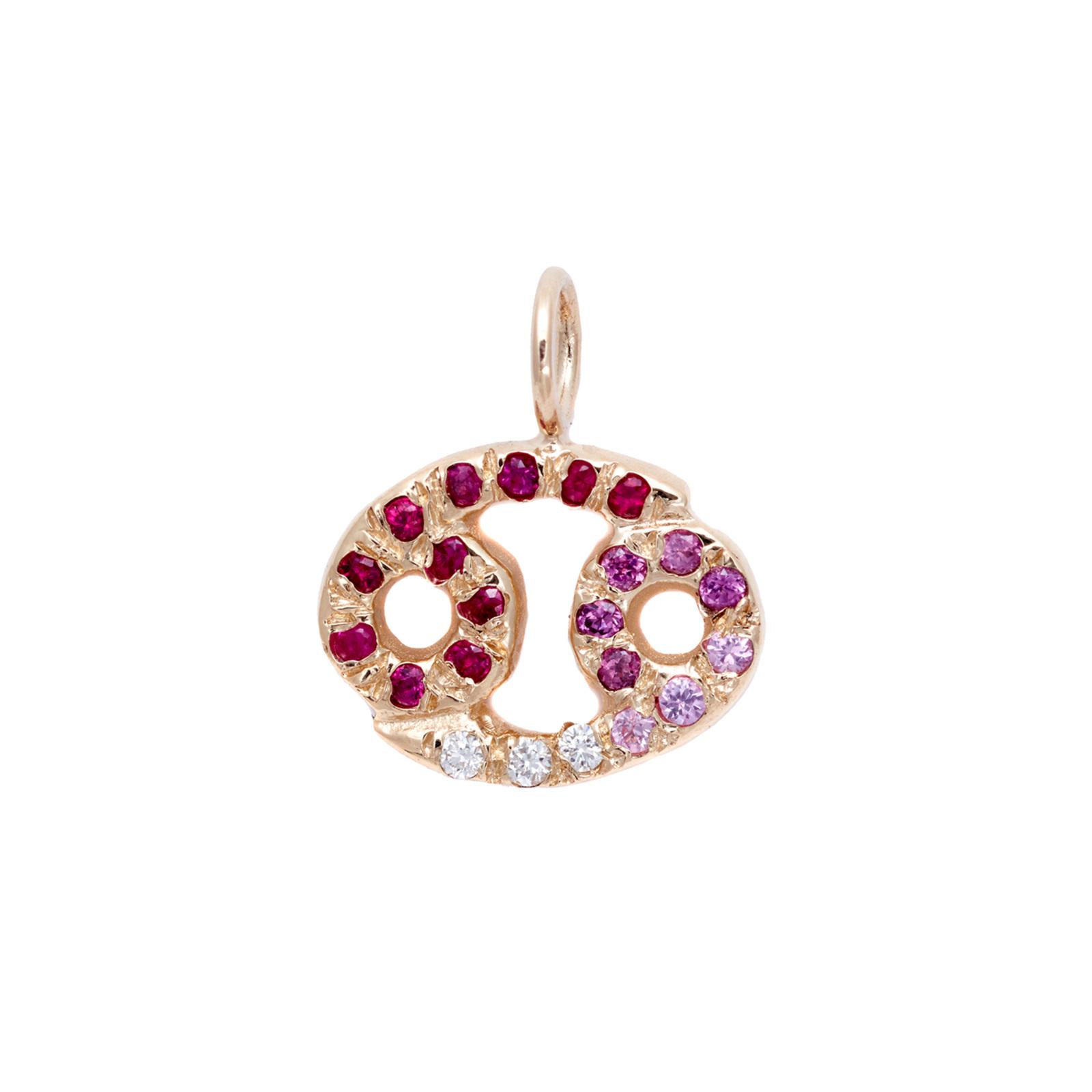 cancer charm necklace zodiac jewelry yellow gold