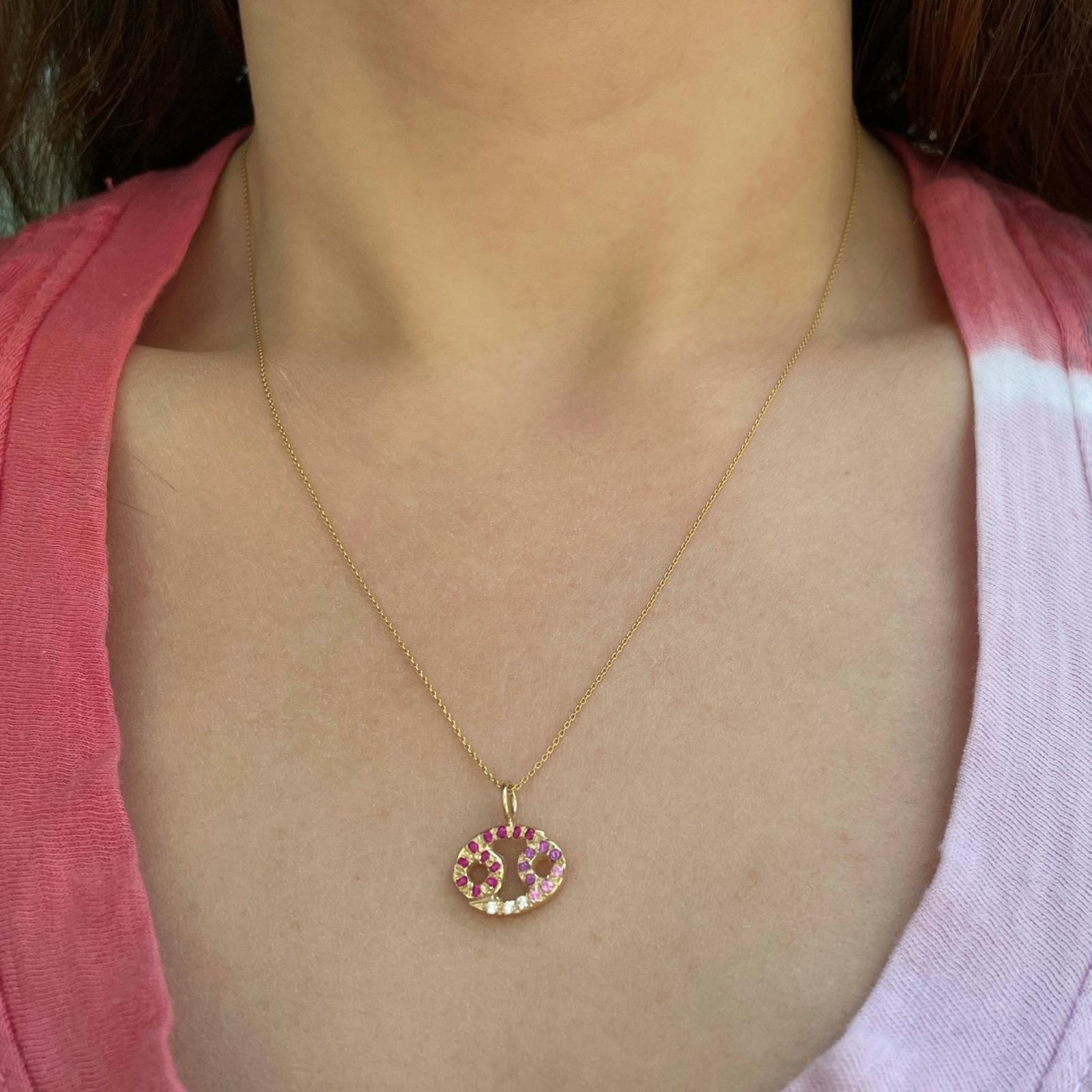 Cancer zodiac sign charm pendant necklace