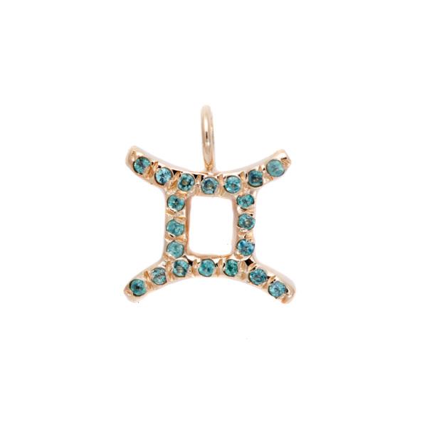 Gemini charm necklace zodiac jewelry yellow gold