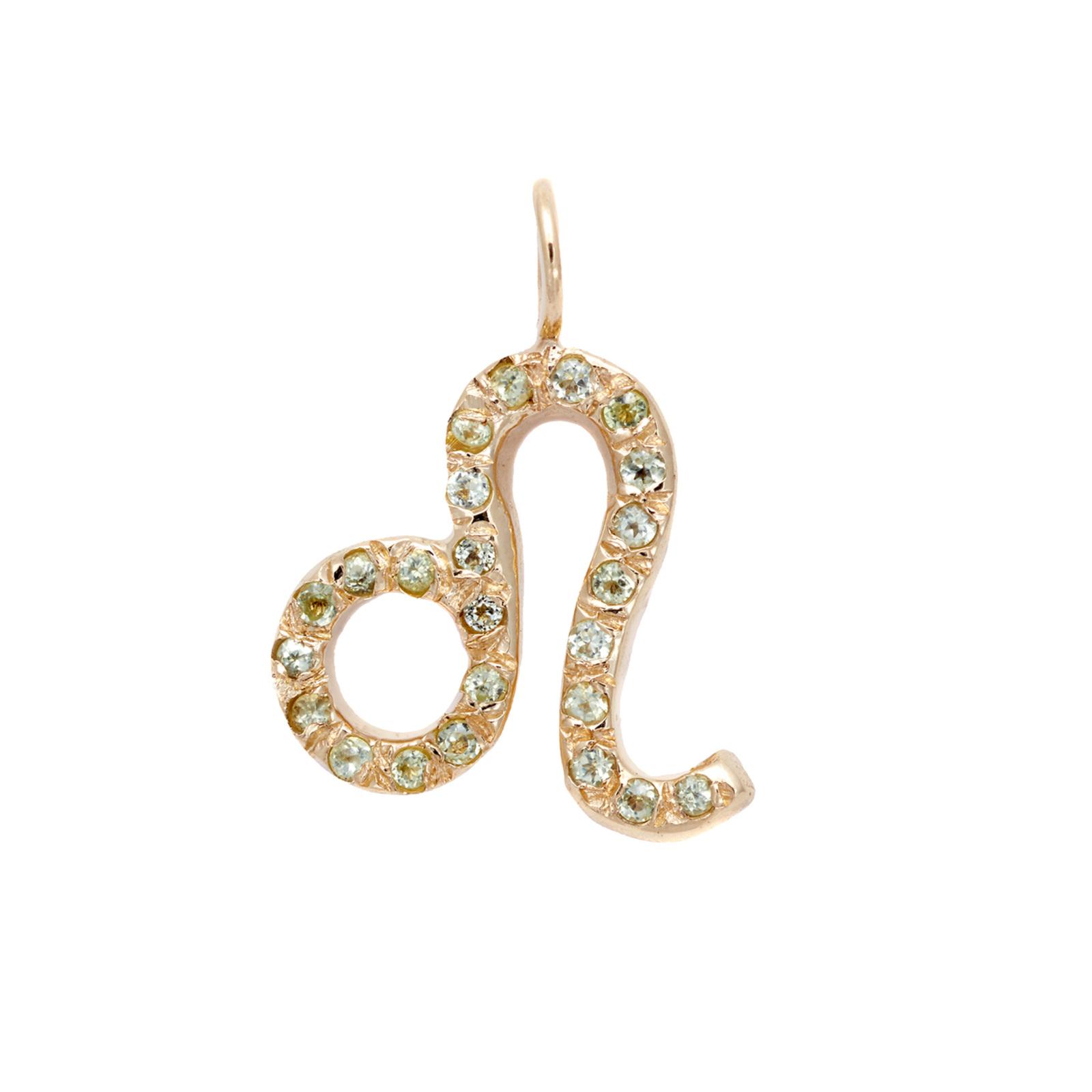 Leo charm necklace zodiac jewelry yellow gold