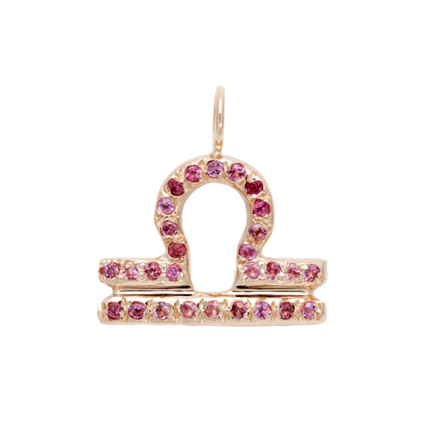 Libra charm necklace zodiac jewelry yellow gold