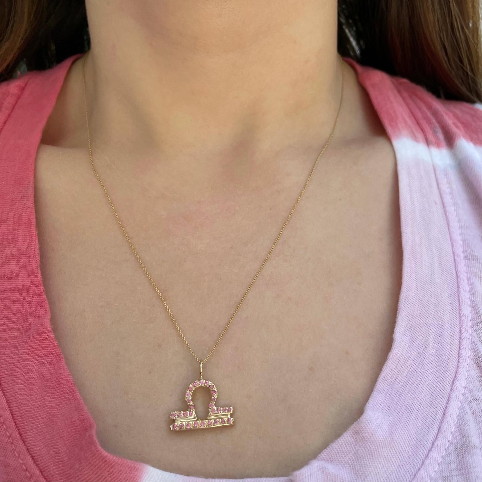 Libra zodiac sign charm pendant necklace