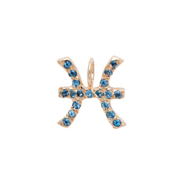 Pisces charm necklace zodiac jewelry yellow gold