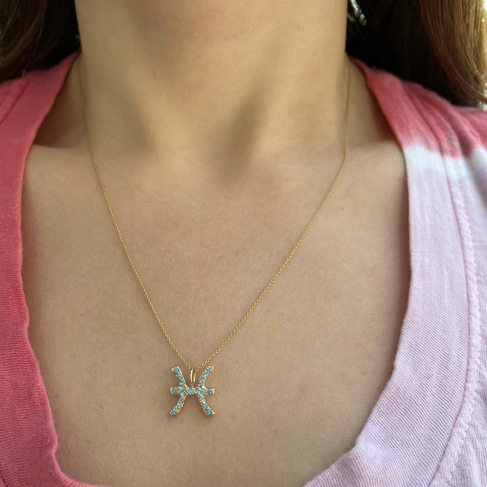 Pisces zodiac sign charm pendant necklace
