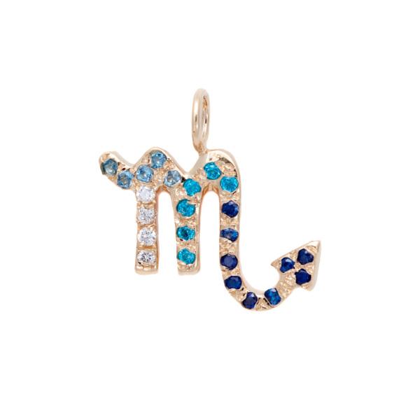 Scorpio charm necklace zodiac jewelry yellow gold