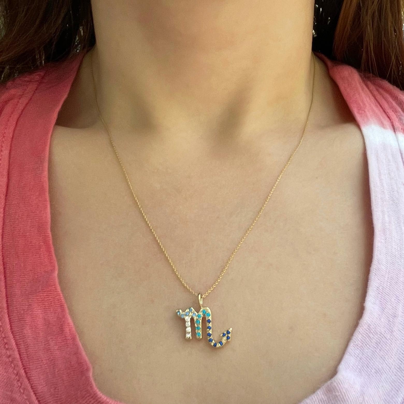 Scorpio zodiac sign charm pendant necklace