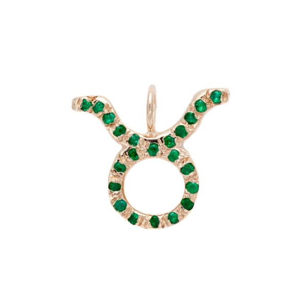 Taurus charm necklace zodiac jewelry yellow gold