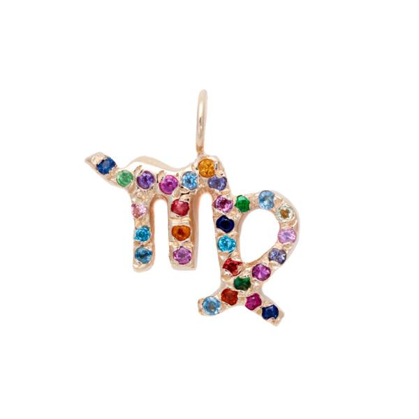 Virgo charm necklace zodiac jewelry yellow gold