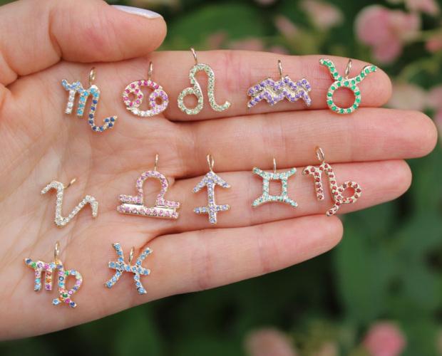 zodiac charms pendants astrology jewelry